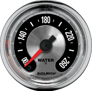 "AUTO METER AMERICAN MUSCLE WATER TEMPERATURE GAUGE 2-1/16"" FULL SWEEP ELECTRIC 100-260F"
