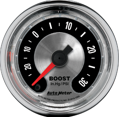 "AUTO METER AMERICAN MUSCLE BOOST GAUGE 2-1/16"" FULL SWEEP ELECTRIC 0-30 PSI"