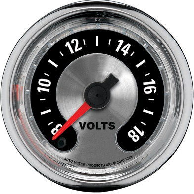 "AUTO METER AMERICAN MUSCLE VOLTMETER GAUGE 2-1/16"" FULL SWEEP ELECTRIC 0-18 VOLTS"