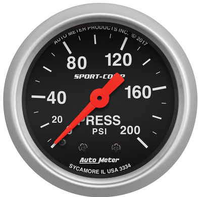 "AUTO METER SPORT COMP SERIES PRESSURE GAUGE 2-1/16"" FULL SWEEP MECHANICAL 0-200 PSI"
