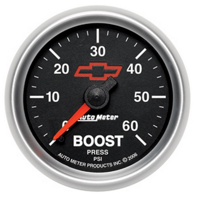 "AUTO METER HSV HOLDEN CHEV BOW-TIE BOOST GAUGE 2-1/16"" BLACK DIAL FULL SWEEP MECHANICAL 0-60PSI"