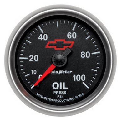 "AUTO METER HOLDEN HSV CHEV BOW TIE OIL PRESSURE GAUGE 2-1/16"" BLACK DIAL FULL SWEEP MECHANICAL 0-100 PSI"