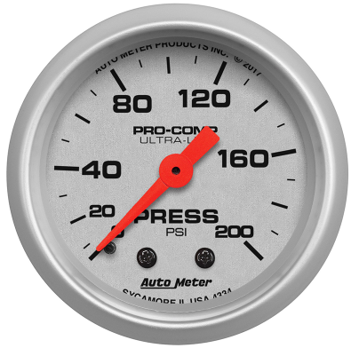 "AUTO METER ULTRA-LITE SERIES PRESSURE GAUGE 2-1/16"" FULL SWEEP MECHANICAL 0-200 PSI"