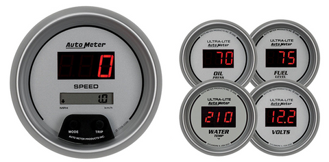 AUTO METER ULTRA LITE DIGITAL SERIES FIVE PIECE KIT ELECTRONIC SPEEDO OIL PRESSURE WATER TEMP VOLTS & FUEL LEVEL