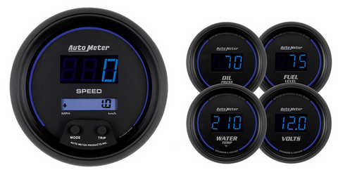 AUTO METER COBALT SERIES FIVE PIECE KIT DIGITAL SPEEDO FUEL LEVEL OIL PRESSURE WATER TEMP & VOLTS