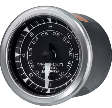 "AUTO METER CHRONO SERIES BOOST PRESSURE GAUGE 2-1/16"" BLACK DIAL FULL SWEEP ELECTRIC 0-15 PSI"