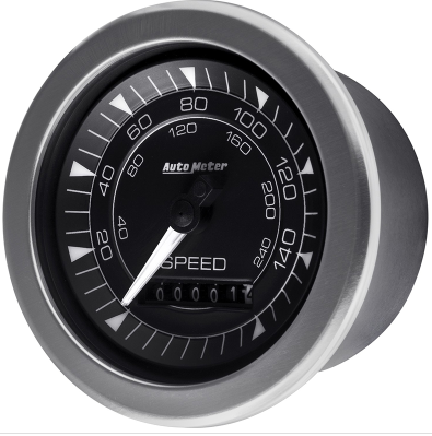 "AUTO METER CHRONO SPEEDOMETER GAUGE 3-3/8"" BLACK DIAL FULL SWEEP ELECTRIC 160 MPH"