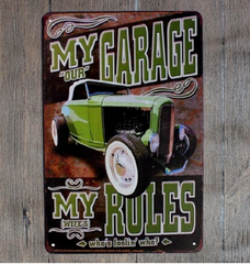 HOT ROD ALUMINIUM MAN CAVE GARAGE SIGNS