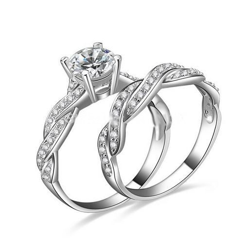 10 kt White Gold Filled Simulated Diamond Wedding Ring Set In the