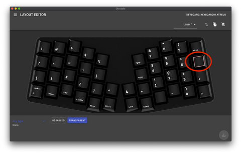 click on the target key