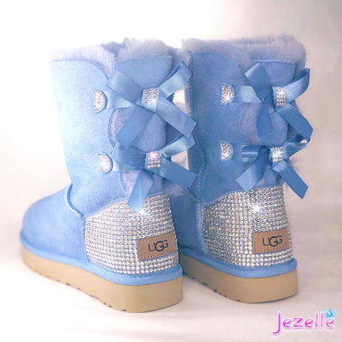 Blue Bling Swarovski Boots for Women