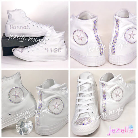 Blinged Out Converse White Wedding High Tops