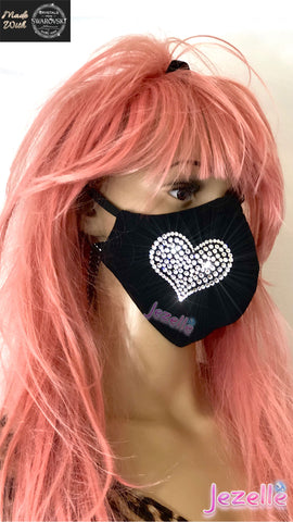 bling heart face mask