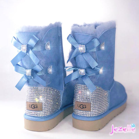 (Whisper Blue) Custom Bailey Bow II Uggs® with Swarovski Crystals®