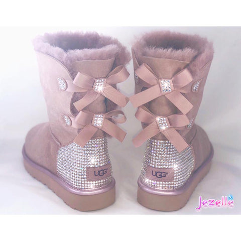 (Light Pink) Custom Bailey Bow II Uggs® with Swarovski Crystals®