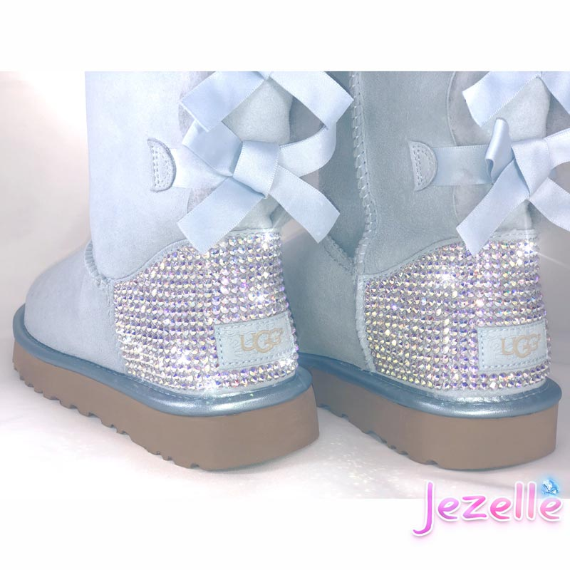 (Sky Blue) Custom Bailey Bow II Uggs® with Swarovski Crystals®
