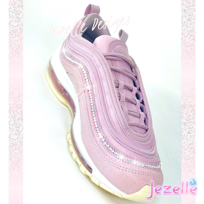 (SIZE 8) READY TO SHIP - Swarovski Nike Air Max 97 (Pink Rose/Silver)