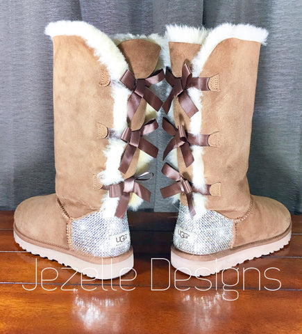 Chestnut Bailey Bow Uggs with Bling