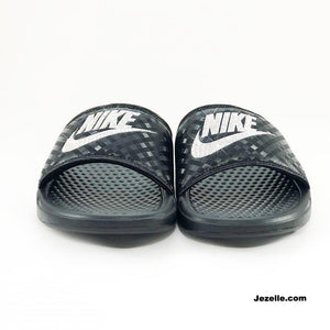 Black Swarovski Blinged Nike Benassi Slides