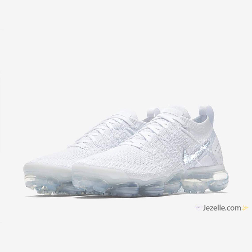White Nikes With Bling