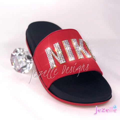 Image of Blinged Out Nike Sliders For Women