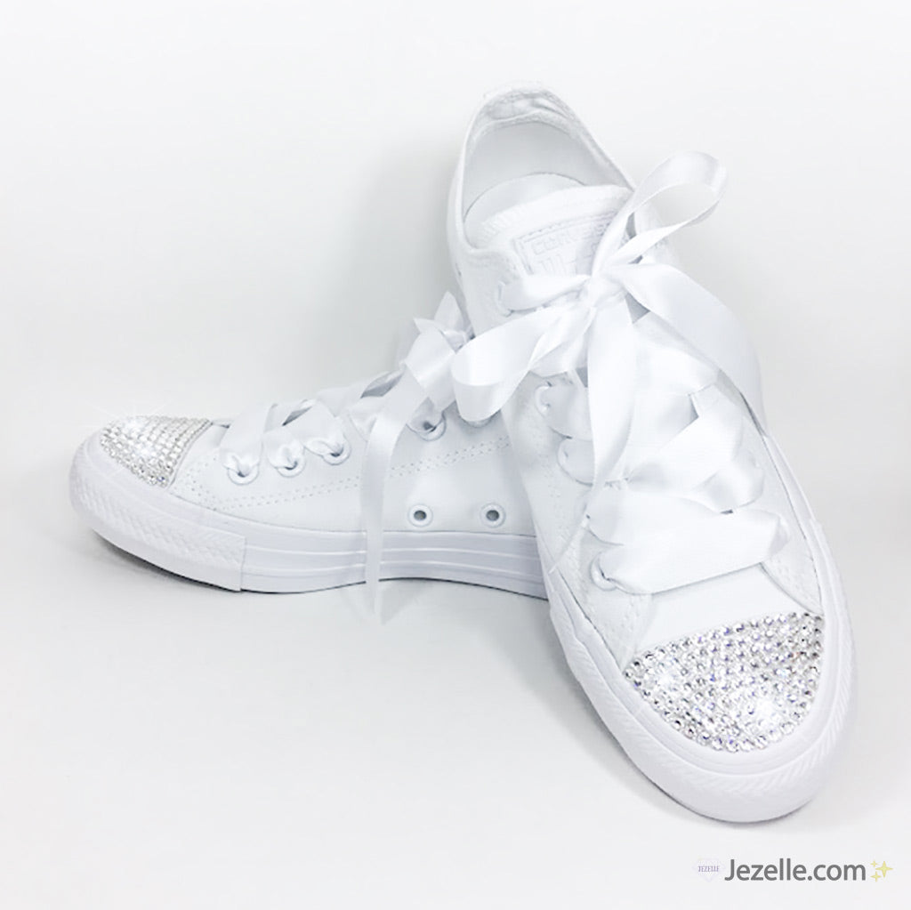 39a58fe439f64 Bridal Converse with Swarovski Crystals (White Low-Top)