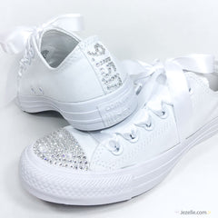 Bridal Converse with Swarovski Crystals (White Low-Top)✨