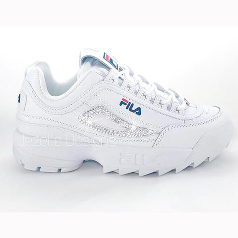 Image of (SIZE 8) Fila Disruptor 2 Premium Shoes w/Swarovski Crystals (White/Red/Navy)