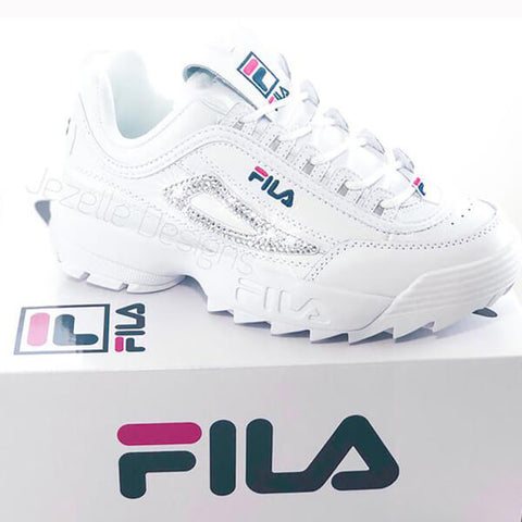 Fila Disruptor 2 Premium Shoes w/Swarovski Crystals (White/Red/Navy)