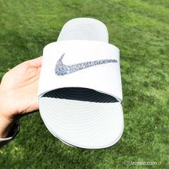 Bling Swarovski Nike Benassi SolarSoft Slide Sandals ✨