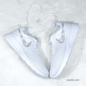 Bling Swarovski Nike Tanjun Shoes (White)