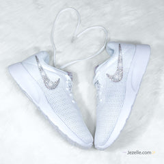Bling Swarovski Nike Tanjun Shoes (White/Particle Rose)
