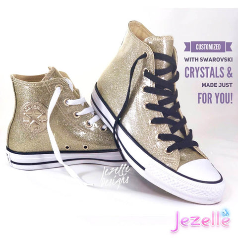 Image of (Size 7.5) LAST PAIR! Glitter Gold Converse with Ribbon Laces
