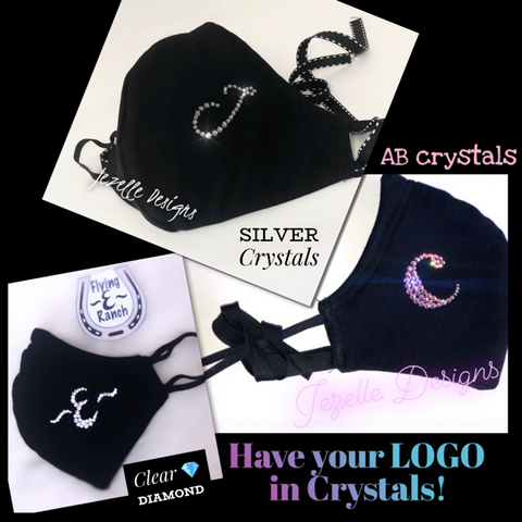 "Image of Double Layer Cotton Mask  - Hand Crafted w/ mGenuine Swarovski Crystals - ""Love/Heart"""