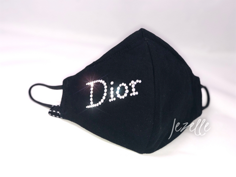Image of Handmade Face Mask with DIOR in Swarovski Crystals