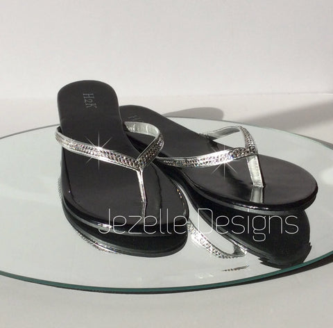Swarovki Crystal Hand Jeweled Flip Flops