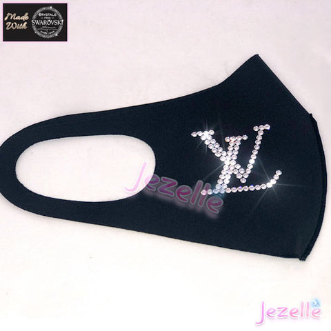 "Image of Blinged out ""Flex-Fit"" Face Mask w/ ""LV"" Design in Swarovski Crystals"