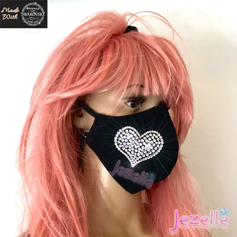 Custom Bling Face Mask with LV in Swarovski Crystals