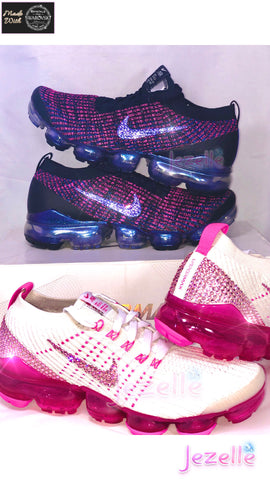 Image of VaporMax Flyknit 3 w/Swarovski Crystals (White/Hot Pink)