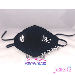 "Hand Crafted Genuine Swarovski ""Love/Heart"" Face Mask w/ Filter Pocket"