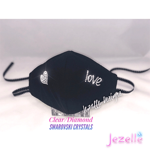 "Image of Hand Crafted Genuine Swarovski ""Love/Heart"" Face Mask w/ Filter Pocket"