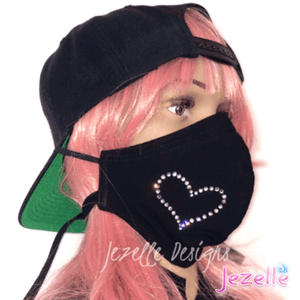 "Hand Crafted Genuine Swarovski ""Heart"" Face Mask w/ Filter"