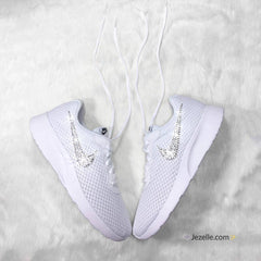 Swarovski Jeweled Nike Tanjun Shoes (White)