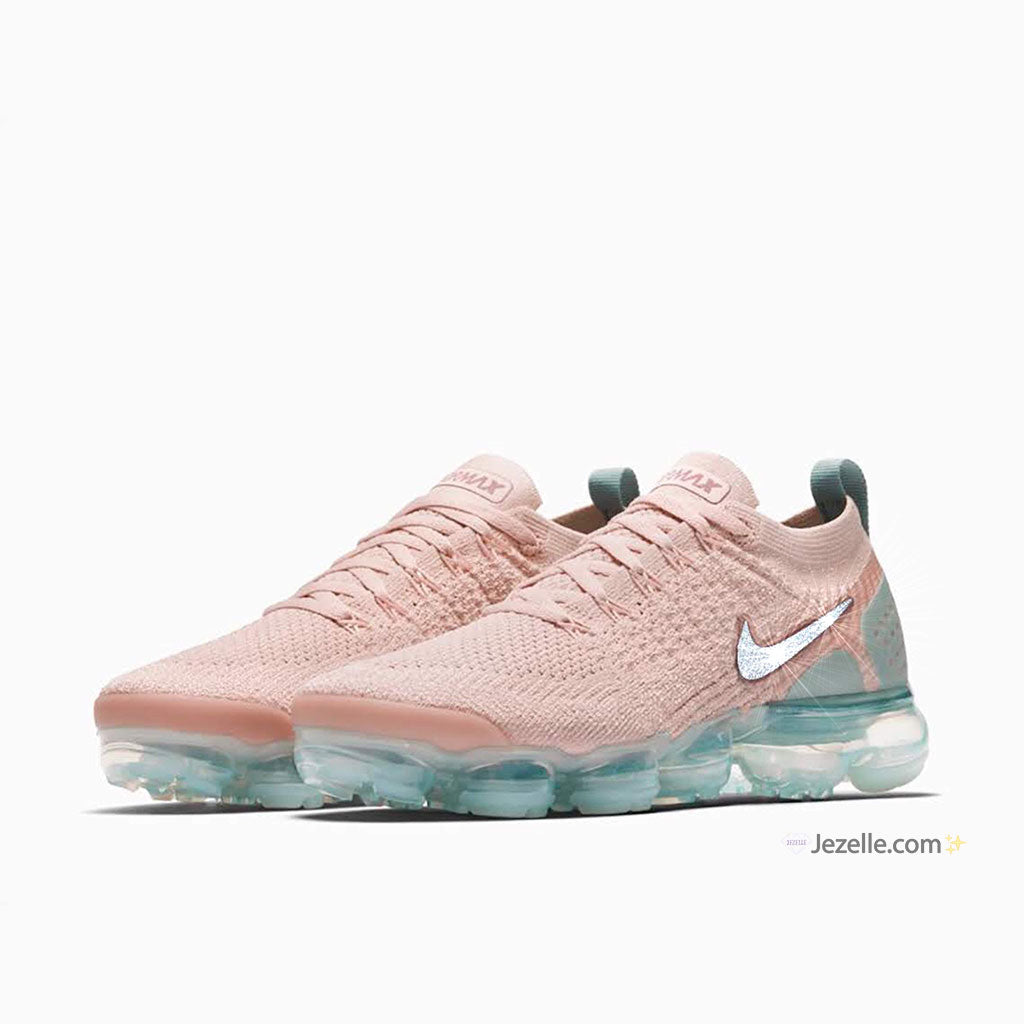 98bf7224154e ... Air Vapormax Flyknit 2 - Particle Beige Smokey Mauve Mica. Nikes With  Crystal Swooshes  Nikes With Crystals ...