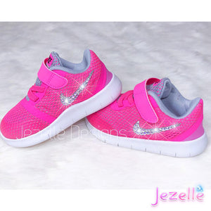 (Size 6c) LAST ONE! Bling Hot Pink Swarovski Nikes for Baby