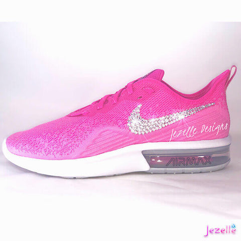 Image of Pink Nikes with Crystals