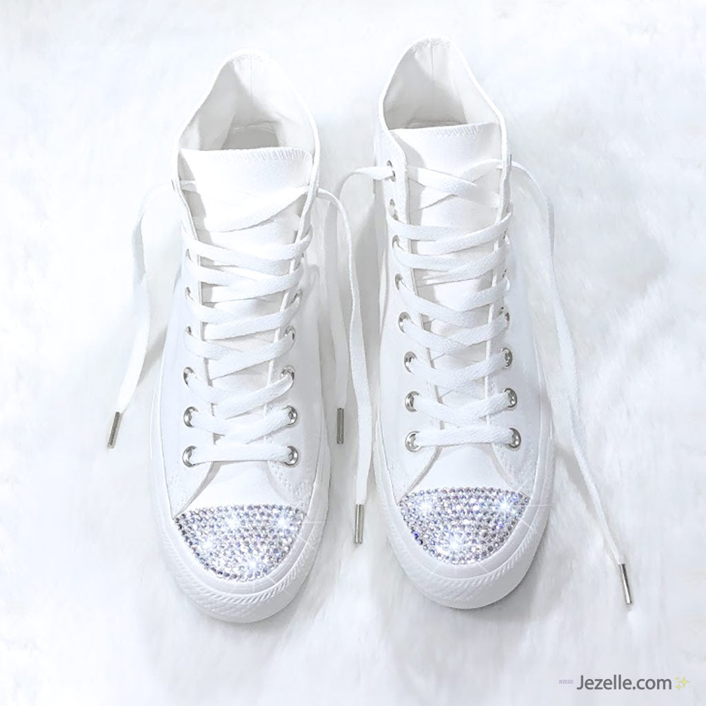 20e3a1152 Bling Converse Ivory High Tops with Swarovski® Crystals - Jezelle.com