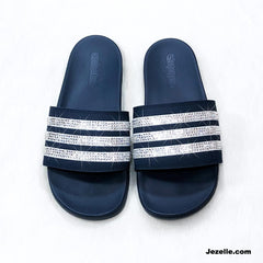 Swarovski Adidas-Ultimate Cloudfoam Plus-Sparkly Slides Sandals✨
