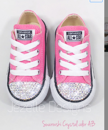 Bling Baby Converse in Pink w/ Sparkling AB Swarovski Crystals
