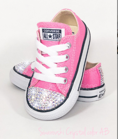 Image of Bling Baby Converse in Pink w/ Sparkling AB Swarovski Crystals